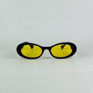 awesome black frame oval yellow lens sunglasses